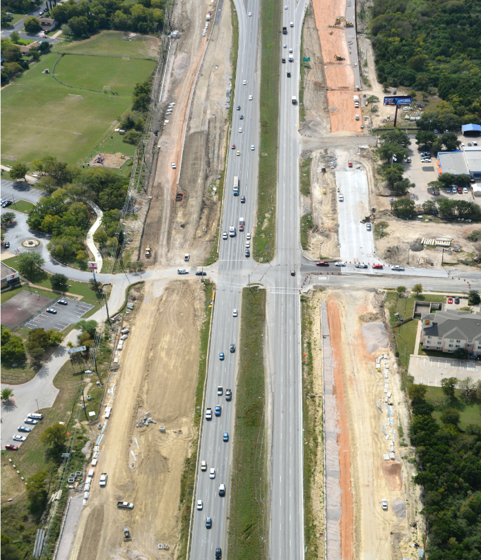 Aerial view of the 51st Street intersection