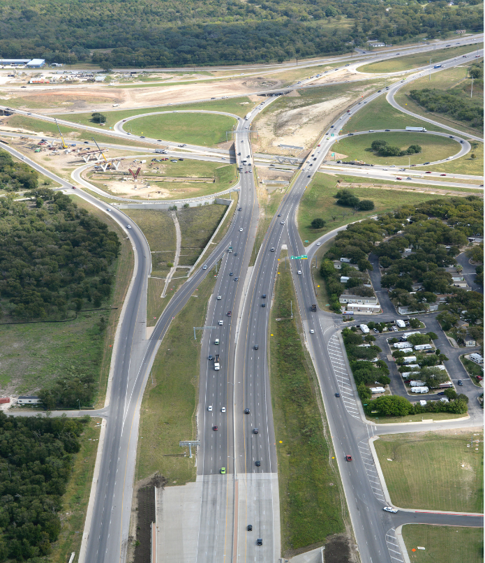 Aerial view of SH 71 interchange