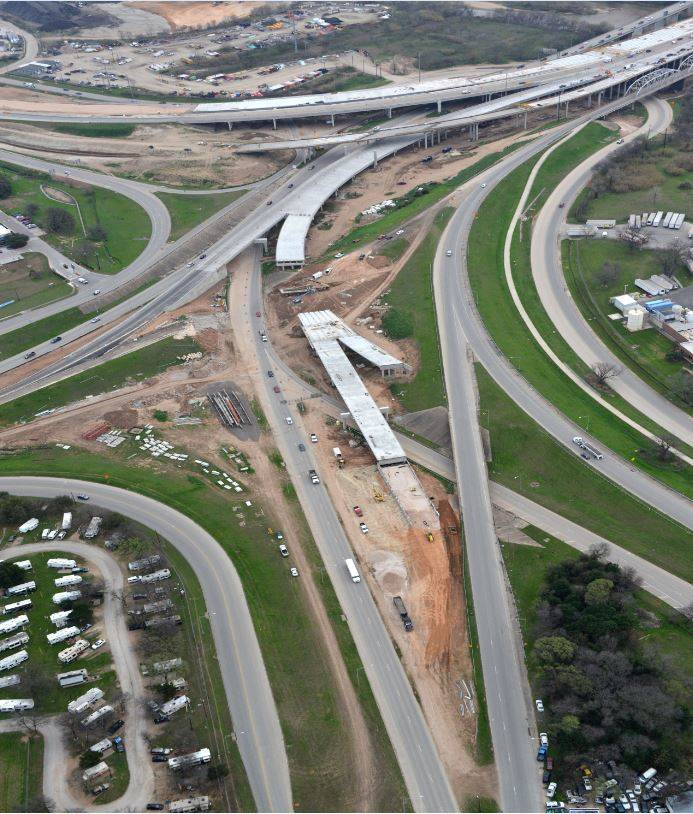 Aerial view of the Airport Blvd interchange