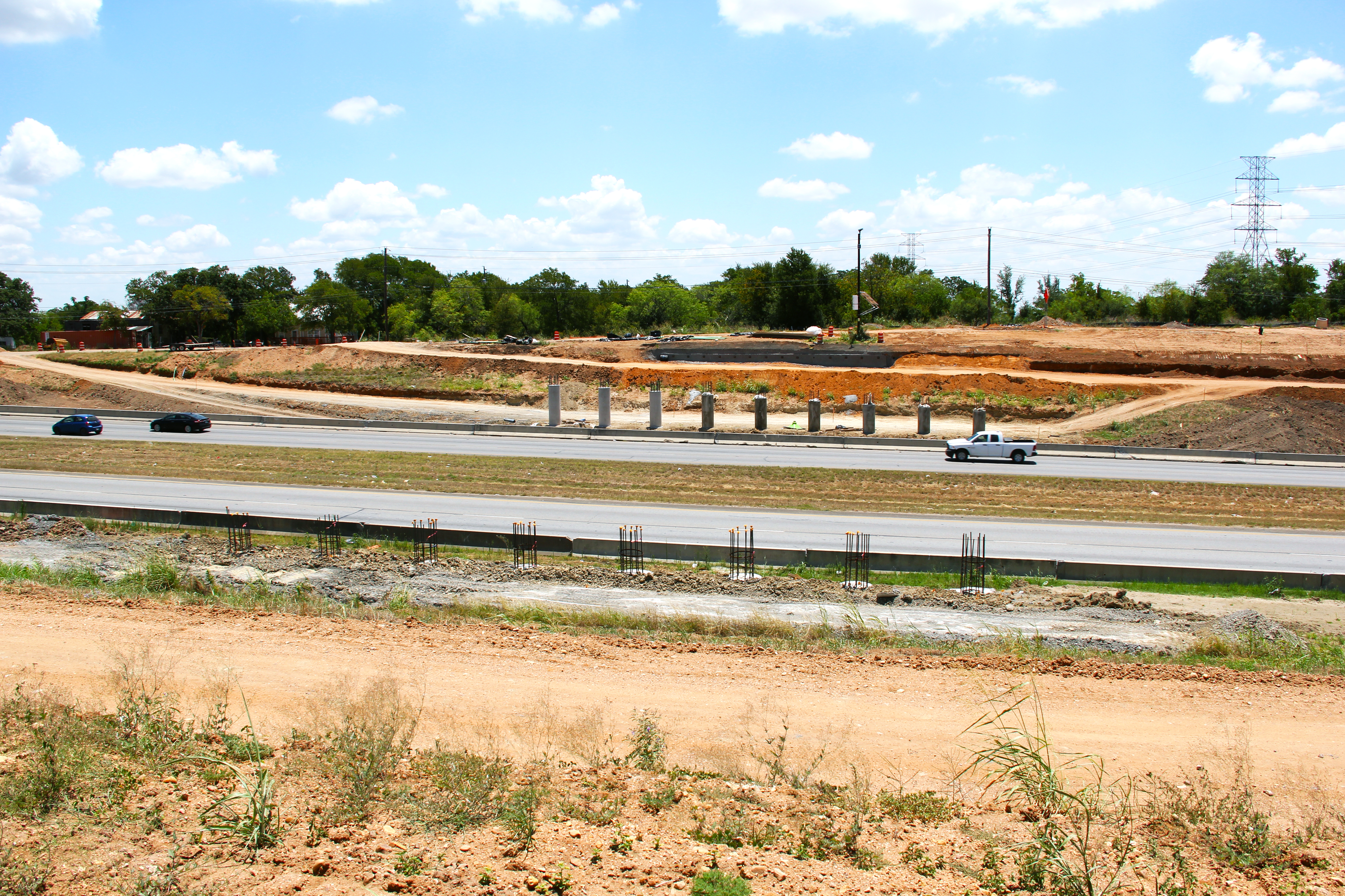 Bridge Columns for New Texas Turnaround Bridge on US 183 Near Harold Court