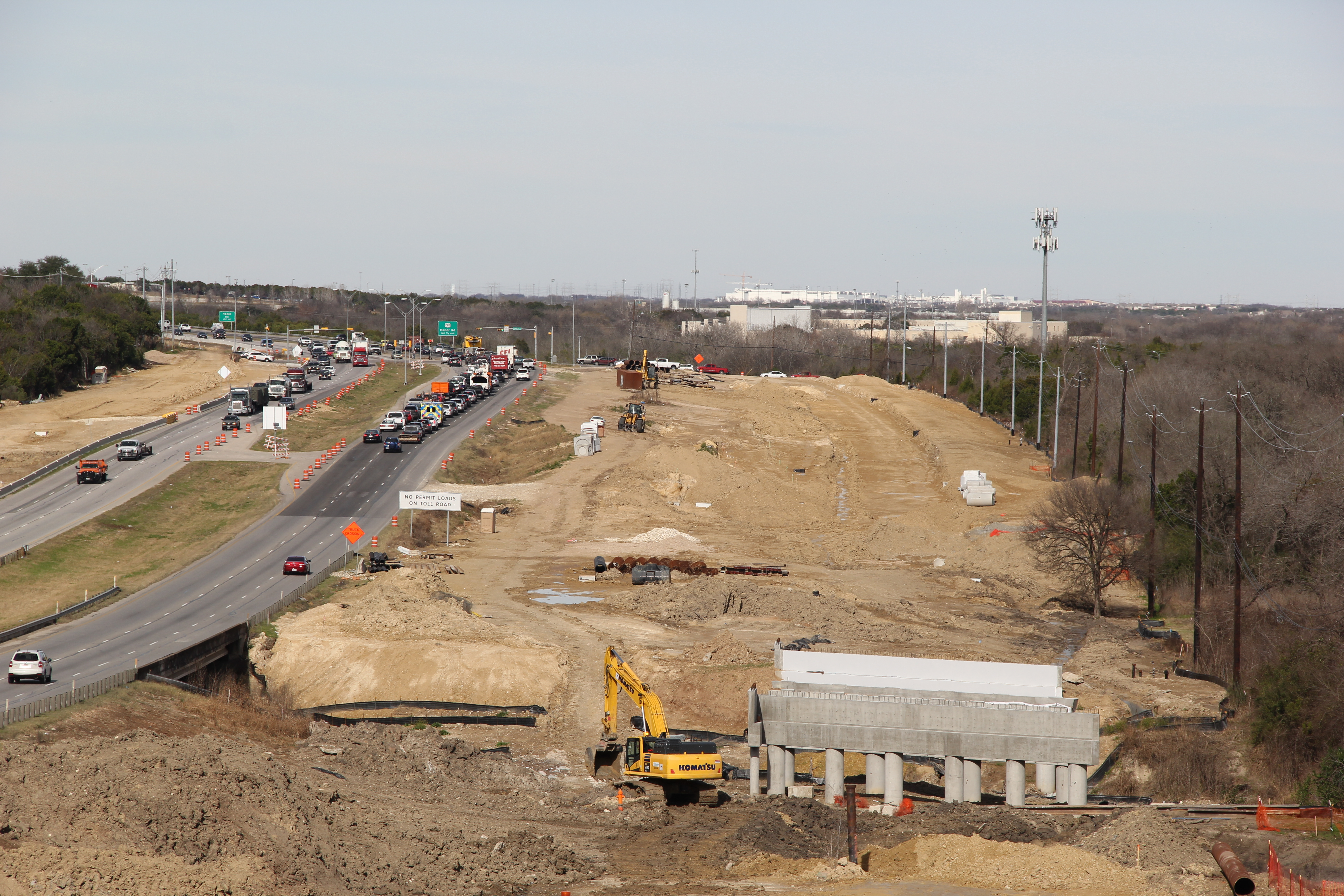US 183 general purpose lane construction at Little Walnut Creek