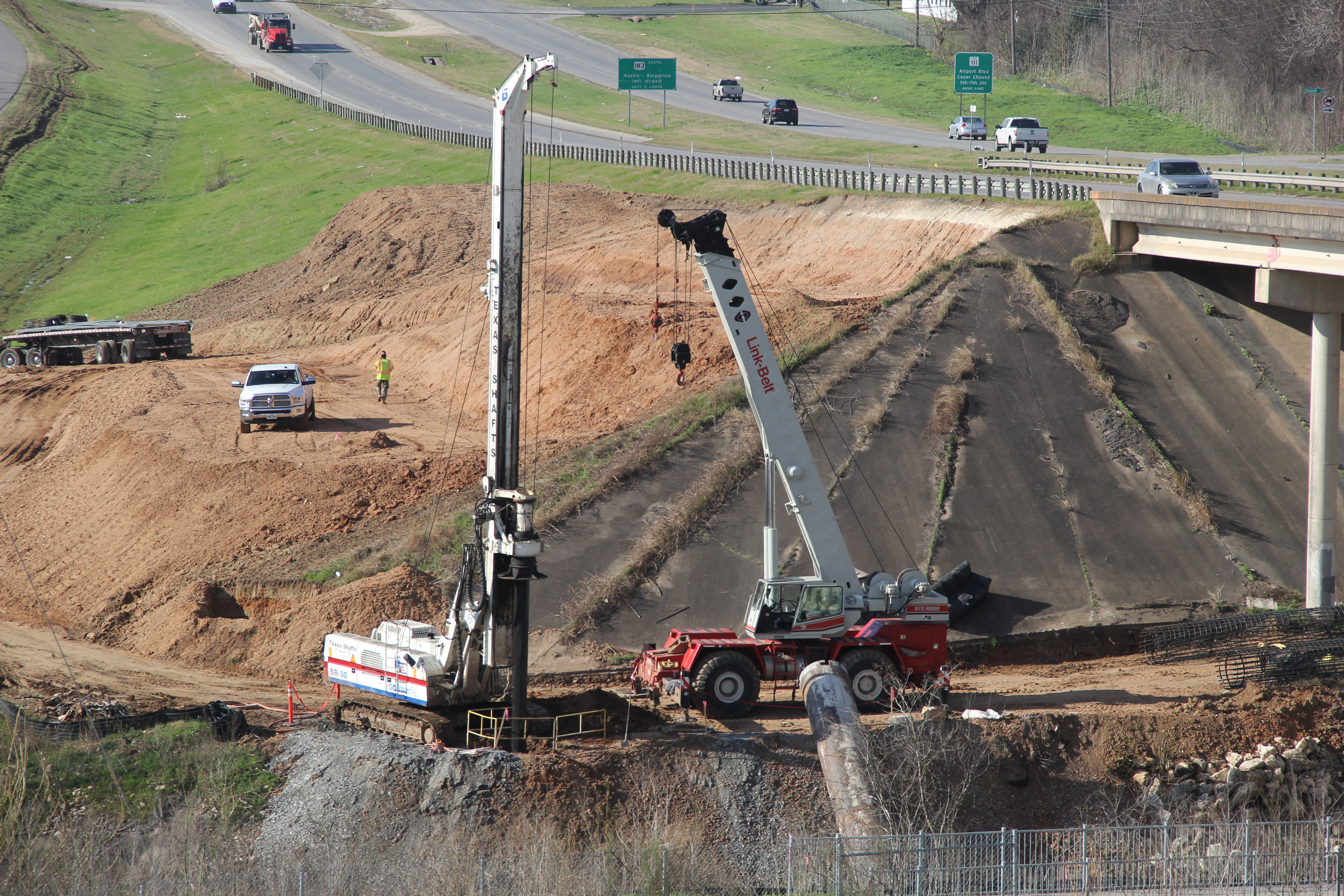 Drilling Foundation Shafts for New US 183 Bridge over Boggy Creek
