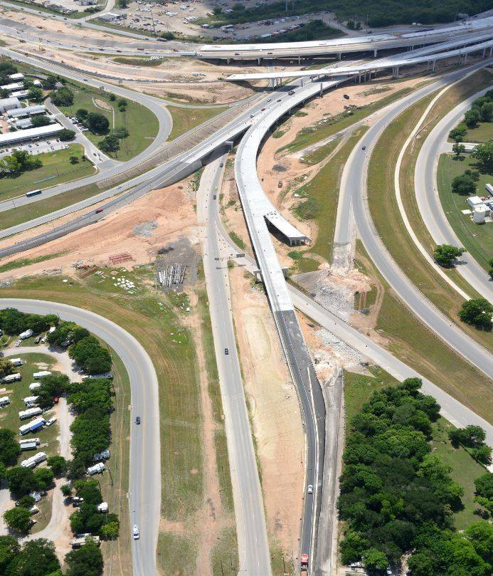Aerial view over Airport Blvd. Interchange