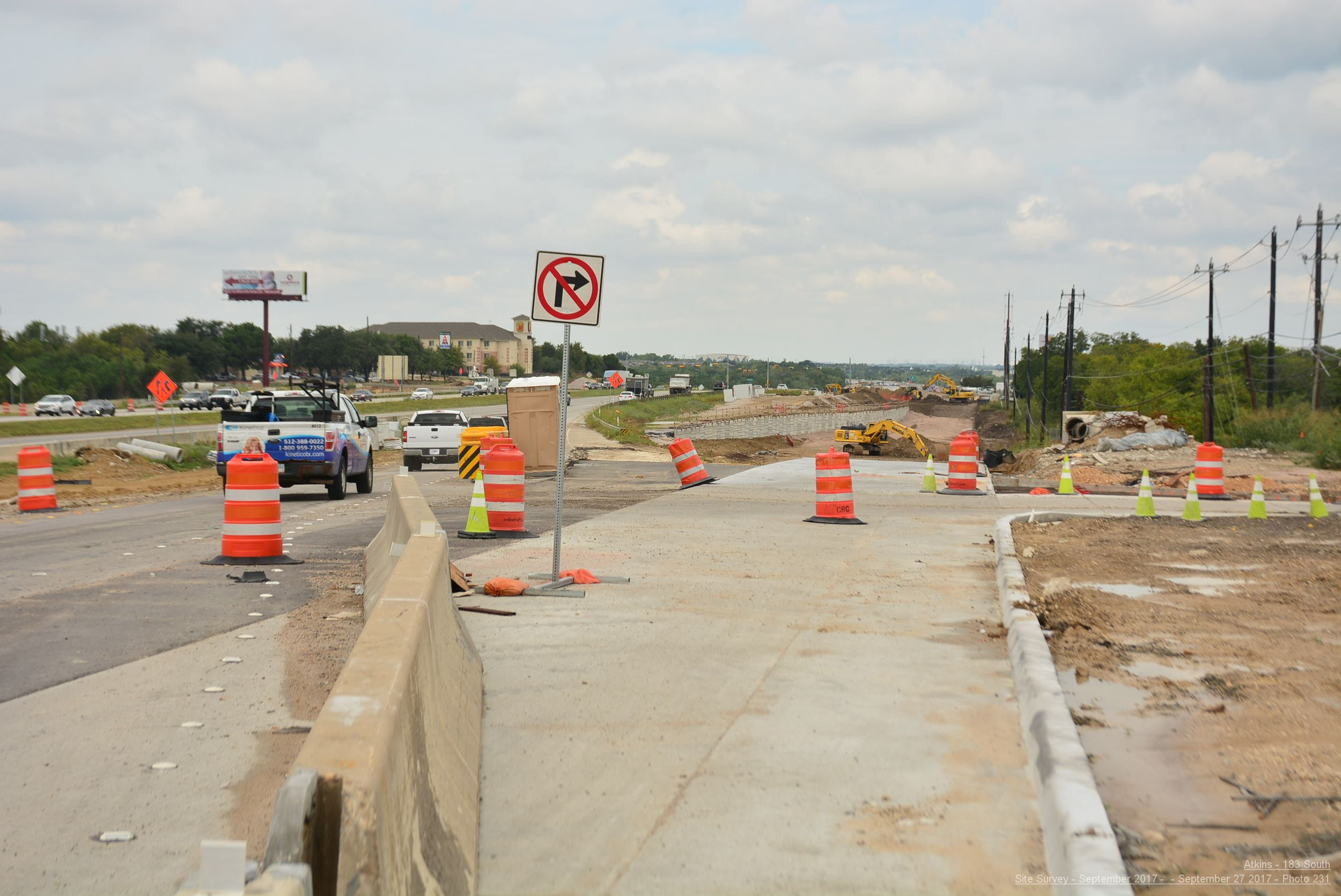 Northbound general purpose lane construction south of 51st Street