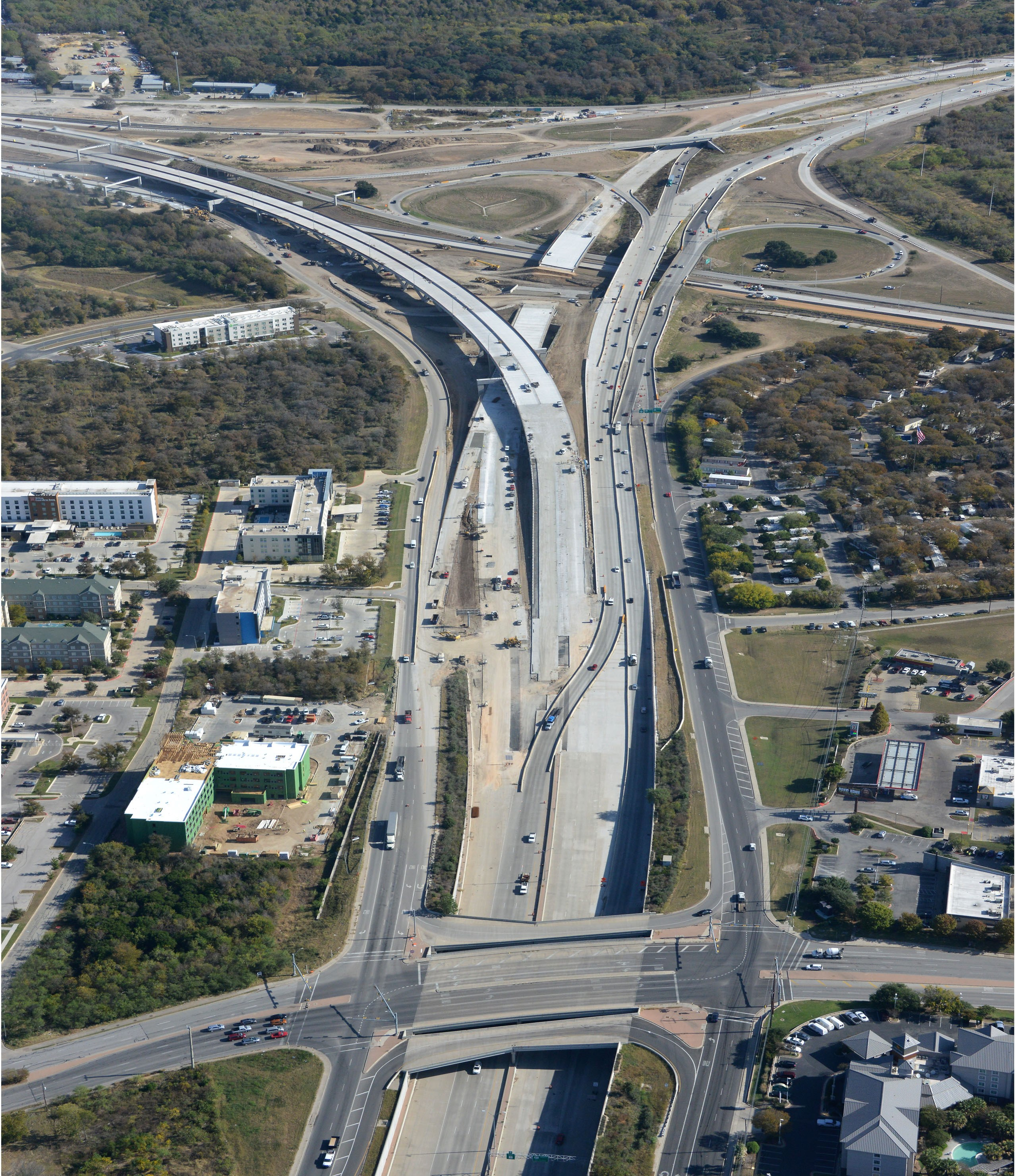 Aerial View of SH 71 at Riverside Drive - Nov. 2020