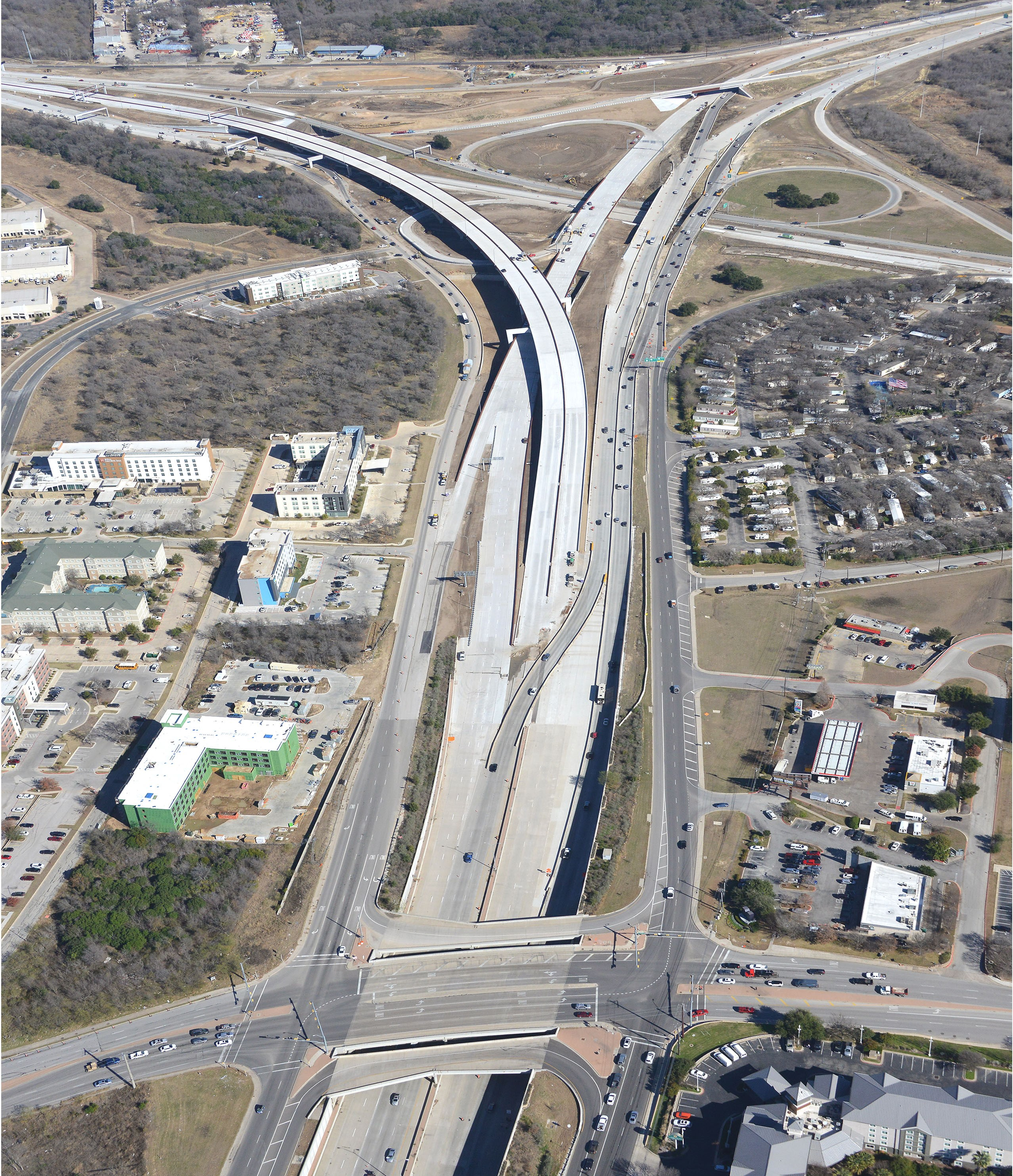 Aerial View of SH 71 at Riverside Drive - Jan. 2021
