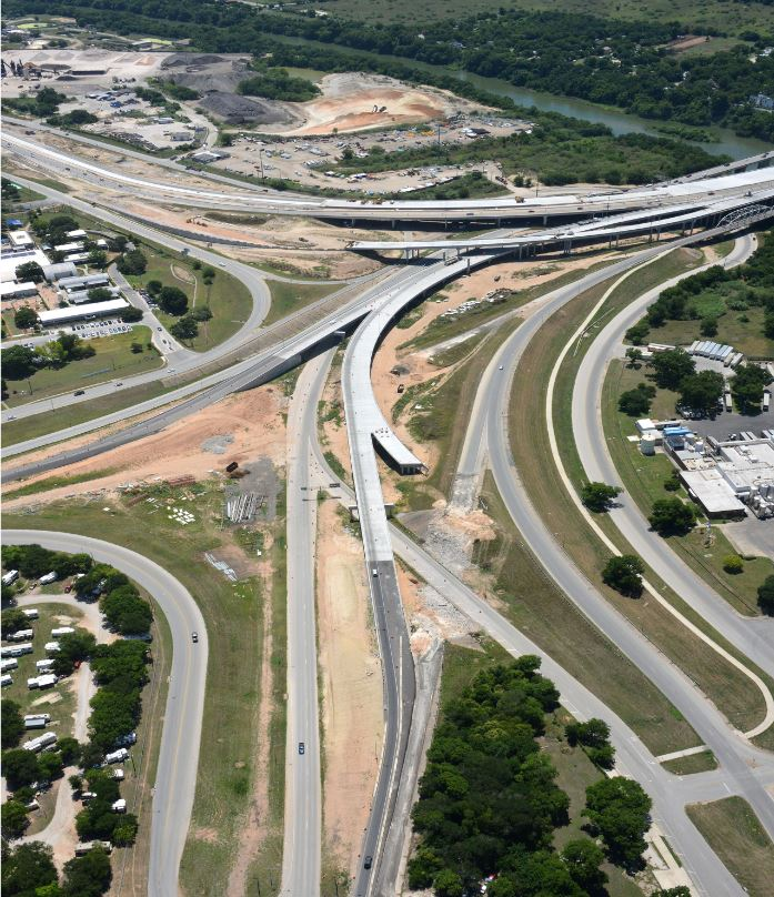 Aerial view over the Airport Blvd interchange