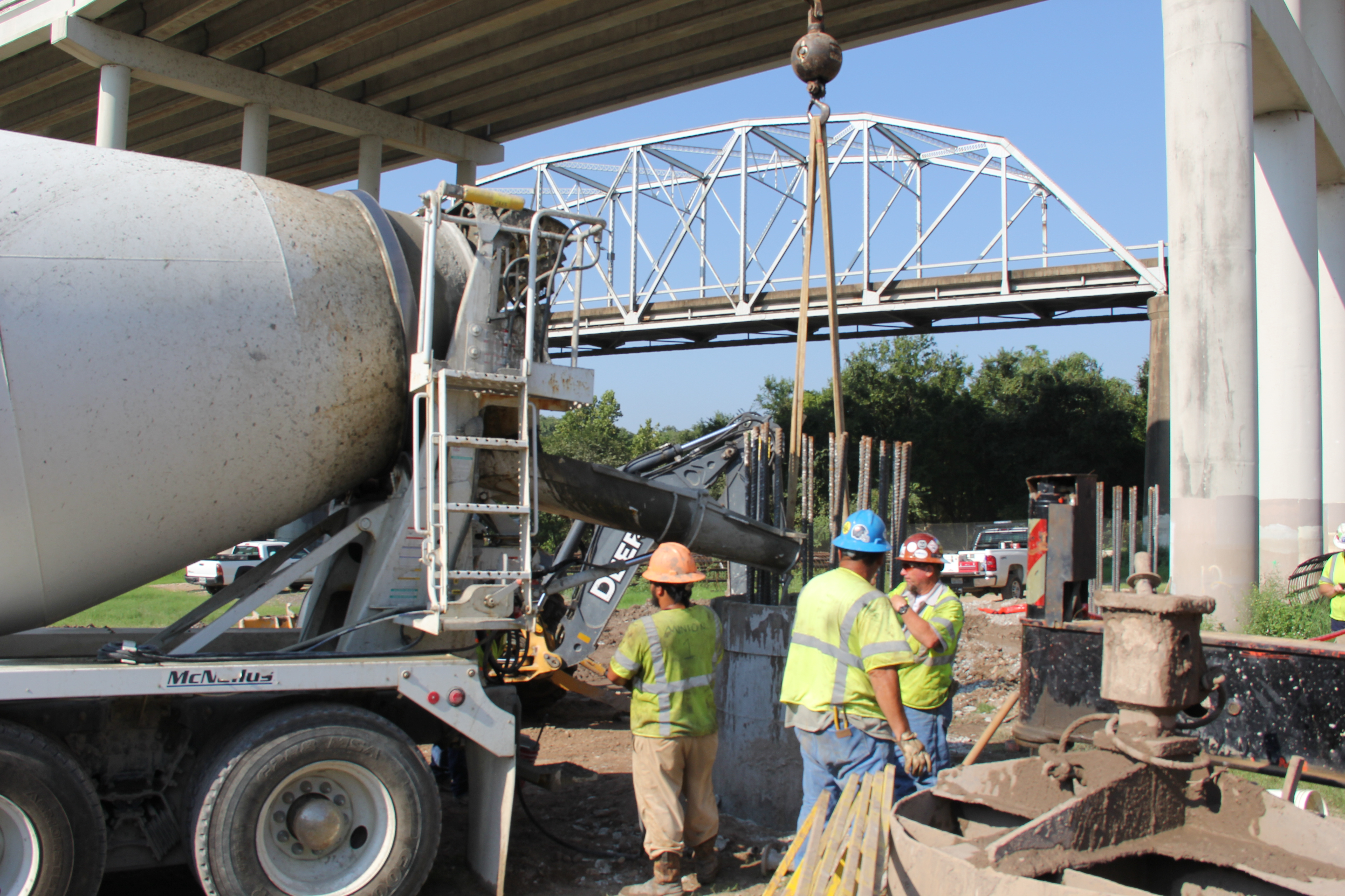 Pouring Concrete for Bridge Foundations at Colorado River Crossing - September 2, 2016